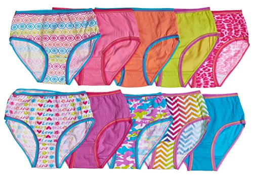 Trimfit Girls 100% Combed Cotton Colorful Hearts Panties 10-Pack Bright Multi Color M (6-8)
