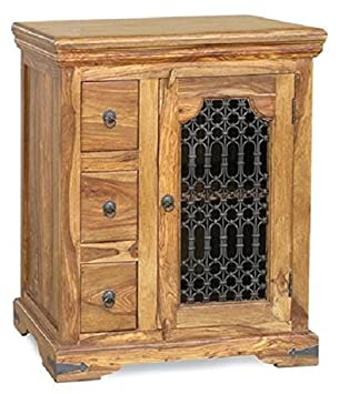 Jali HiFi Cabinet - Sideboard - Handmade from 100% Real Sheesham Wood - Indian Oak Rosewood
