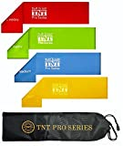 TNT Pro Series Exercise Loop Bands: Extra Wide Extra Long-Best Resistance Bands for Legs, Set of 4