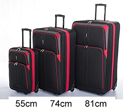 Large 74 cm (29'') Super Lightweight Expandable Luggage Suitcase (Black-Red WG Edition)