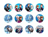 DISNEY FROZEN CHARACTERS 2 INCH ROUND EDIBLE IMAGES CUPCAKE TOPPERS