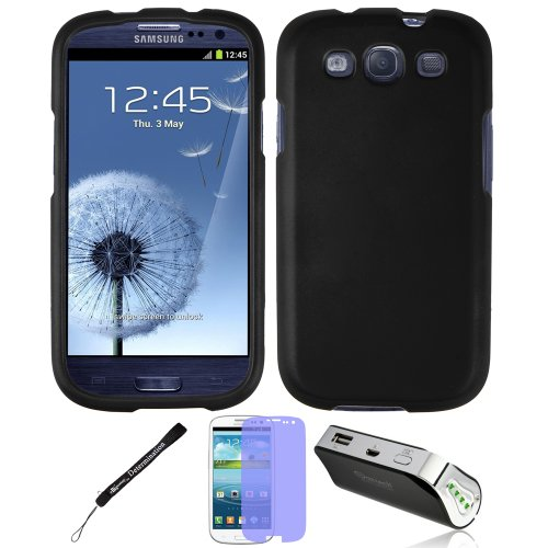 Black 2 Piece Faceplate Cover For Samsung Galaxy S Iii + Battery Power Bank Charger + Screen Protector + Determination Hand Strap