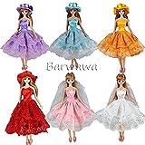 「Barwawa」ランダム3枚セット バービー 服 ドレス 手作り ジェニー ウェア ワンピース  ドール用 人形用 アクセサリー 1/6ドール用  靴付き