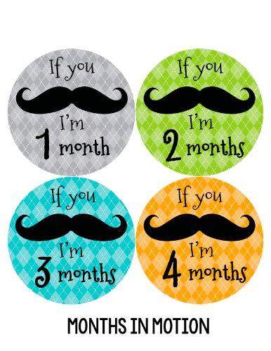 Months in Motion 141 Monthly Baby Stickers Milestone Age Sticker Mustache Boy
