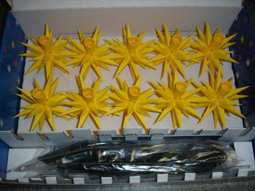Weihnachtsstern, Adventsstern, original Herrnhut, Kette für Innen+Außen, Kunststoff, 10 Sterne a 13 cm, Stern, Sterne, Weihnachtssterne, Adventssterne, Lichterkette, Sternenkette original Herrnhuter Stern, gelb