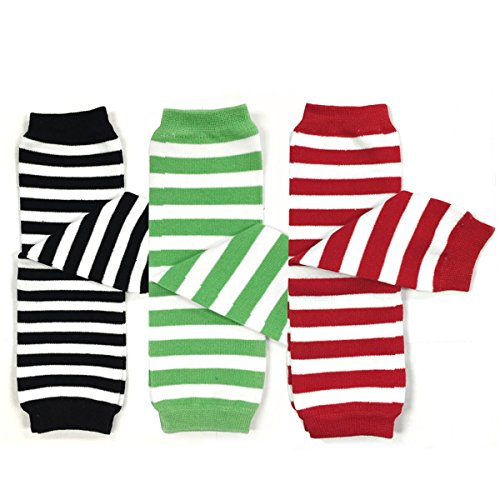 Bowbear Baby 3-Pair Leg Warmers Stripes in Black, Green, Red