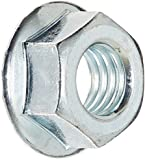 Grade 2 Steel Hex Flange Nut, Zinc Plated Finish, Self-Locking Serrated Flange, ASME B18.2.2, Inch