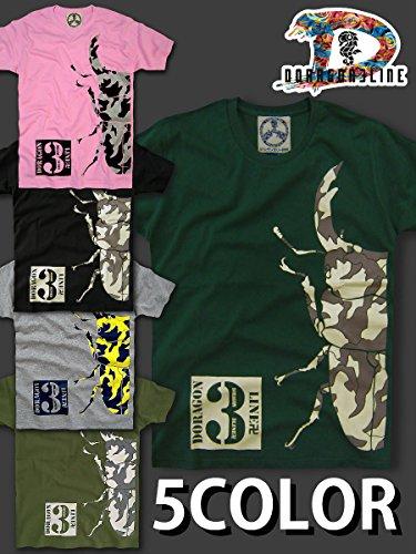 (ドラゴンスリーライン) insecTera 迷彩 カモフラ クワガタ 半袖 Tシャツ (L, アイビーグリーン)