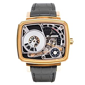 Hautlence HL HL03 43.8mm Automatic 18K Gold Case Black Leather Anti-Reflective Sapphire Men's Watch