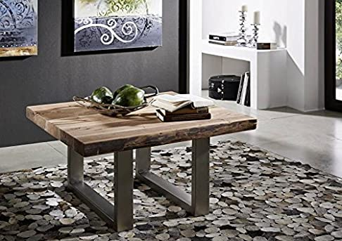 ACACIA IN LEGNO MASSELLO Mobili Tavolino da salotto Sgabello 90x90 mobili in legno massello stile country naturale PIETRA laccato in legno massello forma irregolare #122