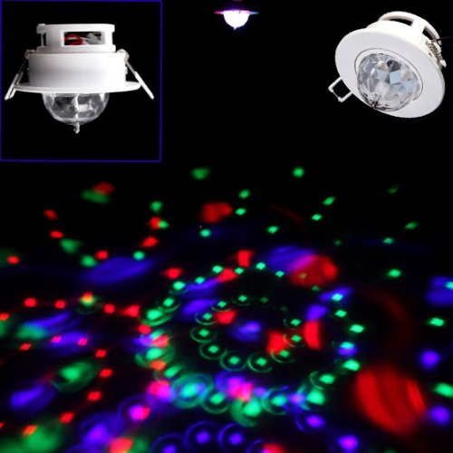 DODOCOOL 3W Full Color LED Voice-activated Rotating RGB Ceiling Stage Light DJ Disco Lamp