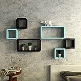 DecorNation Wall Shelf Set of Six Cube Rectangle Designer Wall Rack Shelves - Black & Skyblue