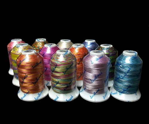 12 Multi Color Polyester Embroidery Machine Thread for Most Home Embroidery Machines 1000 Meters Each (Machine Embroidery Thread 1000m compare prices)