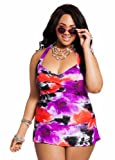 Ashley Stewart Women's Plus Size Gossamer Floral Halter Ruffle Swim Dress