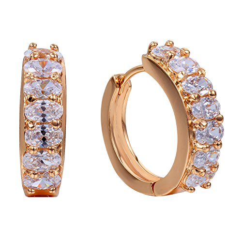Romantic Time Multi Faces Diamod Four Prong Holes French-back 18k Rose Gold Plated Hoop Earrings