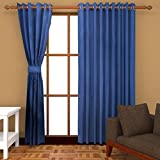 Ab home decor Polyester Door Curtains (Set of 2)-9 Feet x 4 Feet,Blue