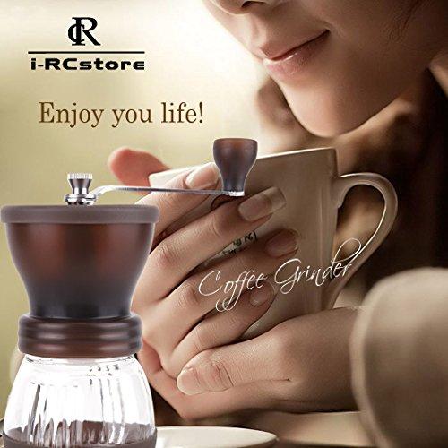 RC Manual Ceramic Burr Coffee Grinder Hand-crank Coffee Mill, Pot Capacity 120g (Brown)