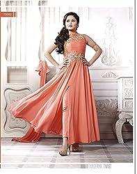 Krishna Orange Color Georgette Semi Stitch Dress Material With Dupatta..