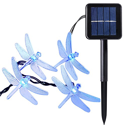 Qedertek Outdoor Dragonfly Solar String Lights, 20ft 30 LED 8 Modes Fairy Lighting for Christmas Trees, Garden, Patio, Wedding, Party and Holiday Decorations, Blue