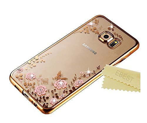 Galaxy S7 Edge Case, Ebest Glitter Electroplate Bumper Bling Butterfly Garden Soft TPU Silicone Flip Back Cover Case for Samsung Galaxy S7 Edge, Gold Bumper Pink Flower
