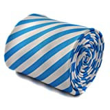 Frederick Thomas blue and white striped tie with signature floral design to the rear
