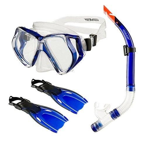 Spokey MARVEST SET2 - Schnorchelset für Erwachsene und Jugendliche Tauchset Tauchmaske Schnorchel Schwimmflossen - sehr hohe Qualität Gr. 1