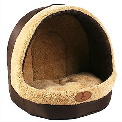 Deluxe Soft Pet Pets Bed Dog Puppy Cat Kitten Bed House Sleeping Warm Mat Cave Igloo (B, S)