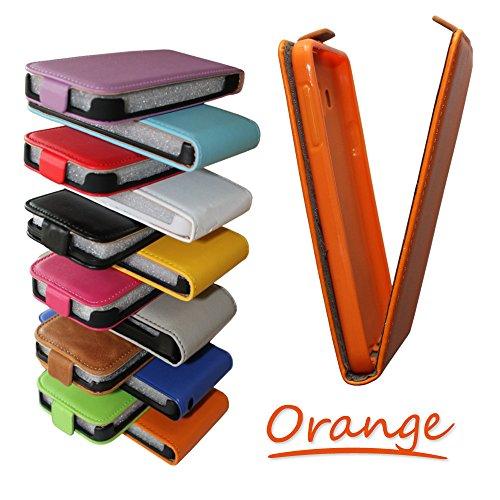 Flipcase Hülle Etui Handytasche Slim Flexi in orange für Samsung GT-S5610