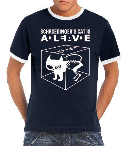 Touchlines Kontrast T-shirt - Schroedingers Cat Is Alive Ringer-T-shirt Uomo,    blu/bianco S