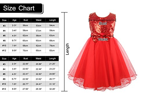 Acecharming Girls Sequins Bowknot Flower Girl Wedding Party Tulle Tutu Dress