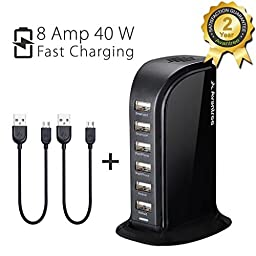 Avantree PowerTower High Speed Desktop 6 Port USB Charging Station Smart ipad iPhone Charger, for Smartphones Tablets, Universal Compatible - Black