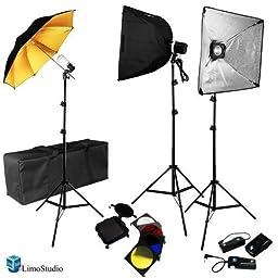 LimoStudio Photography Complete Portrait Studio Flash Lighting Kit - Includes 3 Studio Flash Strobe Light, 2 Photo Softbox, 1 Umbrella Light, Wireless Flash Trigger, AGG1744