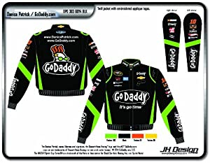 Buy 2014 Danica Patrick Go Daddy Mens Black Twill Nascar Jacket Large by J.H. Design