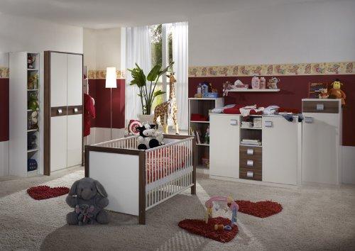 Babyzimmer »EMMA« 8-tlg in alpinweiß - Nussbaum Dekor