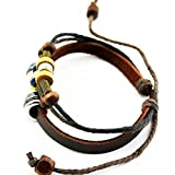 Wild Wind Unique Metal Ring Colorful Beads Multistrand Leather Adjustable Wrap Bracelet