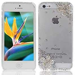 Semoss Fiori Custodia in Strass Diamante per Apple iPhone 5C,Cover Rigida in Trasparente con fiori