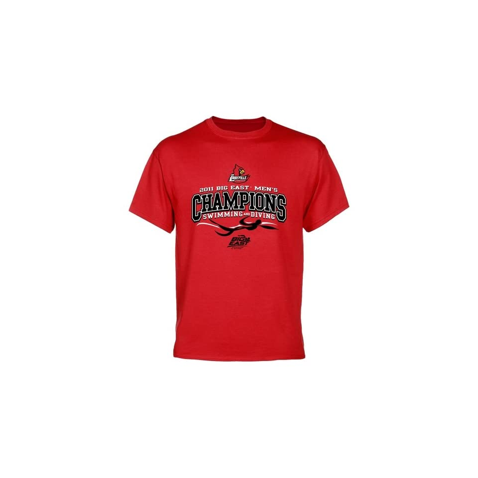 NCAA Louisville Cardinals Red 2011 Mens Swimming & Diving Big East Champions Tribal T shirt