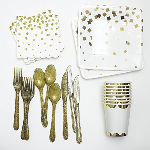 Gold Dessert Paper Plates, Napkins, Cups, and Cutlery Party Collection