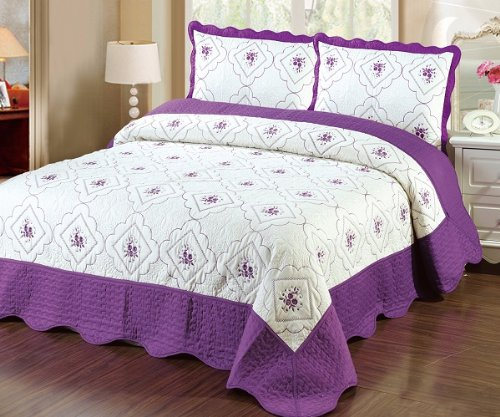 Best Price! Fancy Linen 3pc Bedspread Quilted High Quality Bed Cover Queen/king (PURPLE)