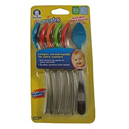 Gerber Graduates Spoons BPA Free, Silicone, 4+ Months 6 ea ( Pack of 4)