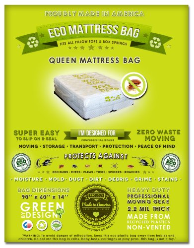4 Queen Mattress Bags: Fits All Queen Or Full Mattress Sizes (Compatible With All Pillow Tops And Box Springs). Ideal For Protecting Against Bed Bugs, Mites And Lice Infestations. Ideal For Moving, Storage And Transport. American Made From Recycled Plasti front-199062
