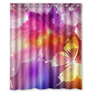 Personality Pink Yellow Purple Spring Flower Custom Shower Curtai