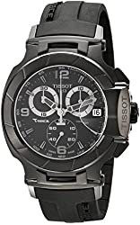 Tissot Men's T0484173705700 T-Race Stainless Steel Black Watch with Rubber Strap