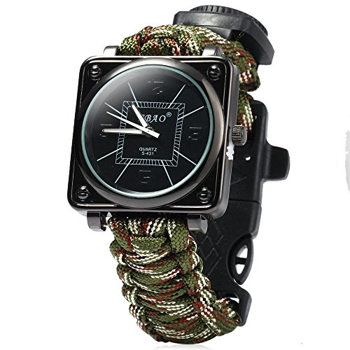 Paracord Outdoor Watch with Survival Compass Whistle Fire Starter Watchband Bracelet