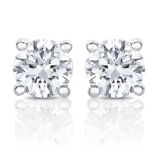 14K White Gold Round Solitaire Diamond Stud Earrings (1/2 Cttw, H-I, I1)