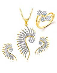 Meenaz Mangalsutra Jewellery Set Combo Gold Plated Cz In American Diamond For Girls &Women Com129