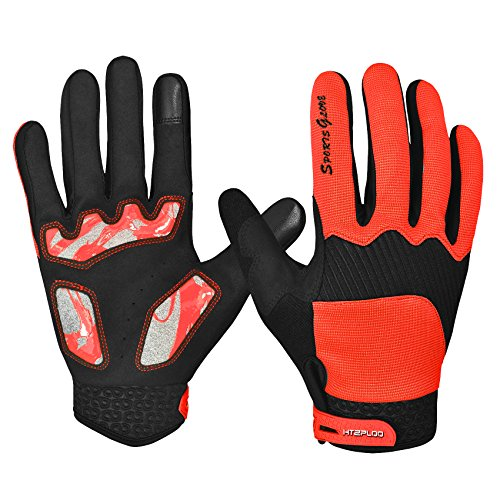 Cycling Gloves with Shock-absorbing Pad Full Finger Bike Gloves Bicycle Gloves Road Racing Gloves Mountain Bike Gloves Men/Women Work Gloves H-004 (Orange, Medium) (Cycling Gloves Medium compare prices)