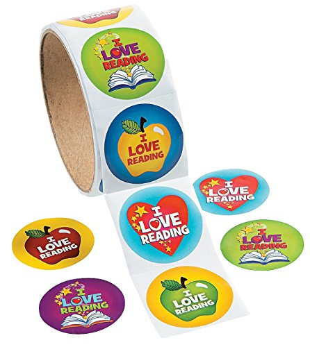 1 Roll, I Love Reading Stickers, 100 Round Paper Stickers Total Approx. 1.5""