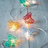 10er LED Lichterkette bunte Schmetterlinge Ostern Deko batteriebetrieben