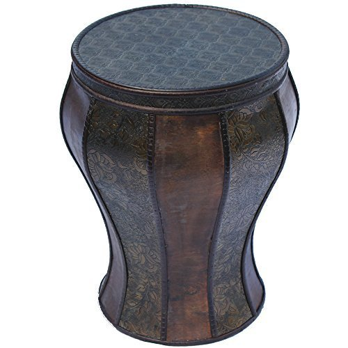 Wooden Stool / Occasional Table With Attractive Embossed Design